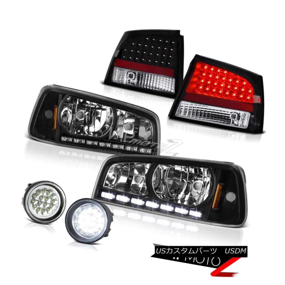 テールライト 2006 2007 2008 Charger SRT8 Black LED Headlight+Rear Tail Light+FULL LED Foglamp 2006 2007 2008充電器SRT8ブラックLEDヘッドライト+リアテールライト+フルLEDフォグライト
