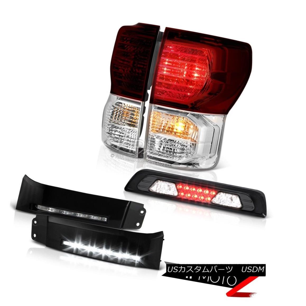 テールライト 07-13 Toyota Tundra SR5 Black Bumper DRL Roof Cab Light Smoked Red Taillights 07-13トヨタトンドラSR5ブラックバンパーDRLルーフキャブライトスモークドレッドティアライツ