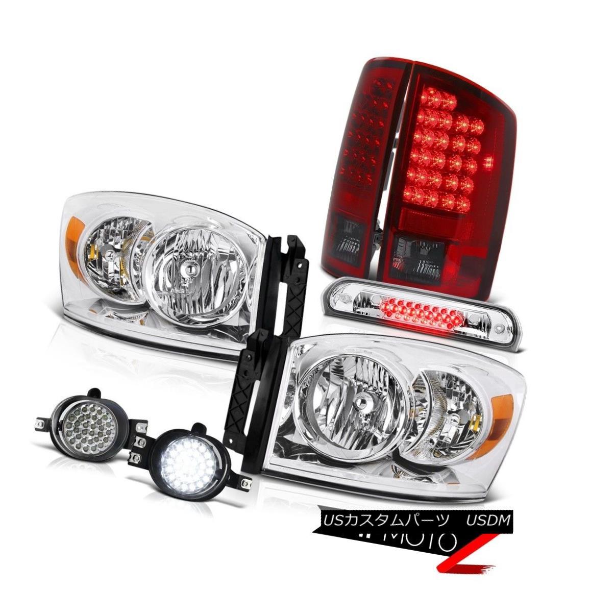 テールライト Crystal Headlight Red LED Taillights D.R.L Fog High Brake Cargo 06 Dodge Ram SLT クリスタルヘッドライトレッドLEDテールライトD.R.Lフォグハイブレーキキャロ06 Dodge Ram SLT