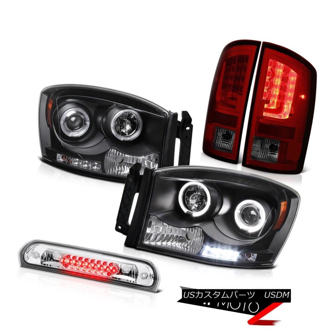 テールライト 2007-2008 Dodge Ram 1500 3.7L Red Smoke Tail Brake Lamps Headlamps 3RD Lamp LED 2007-2008ダッジラム1500 3.7L赤煙テールブレーキランプヘッドランプ3RDランプLED