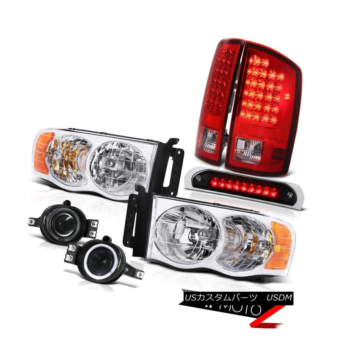 テールライト 2002-2005 Dodge Ram Headlamp Red LED Tail Light Driving Fog Roof Stop Black 2002-2005ダッジラムヘッドランプレッドLEDテールライトドライビングフォグルーフストップブラック