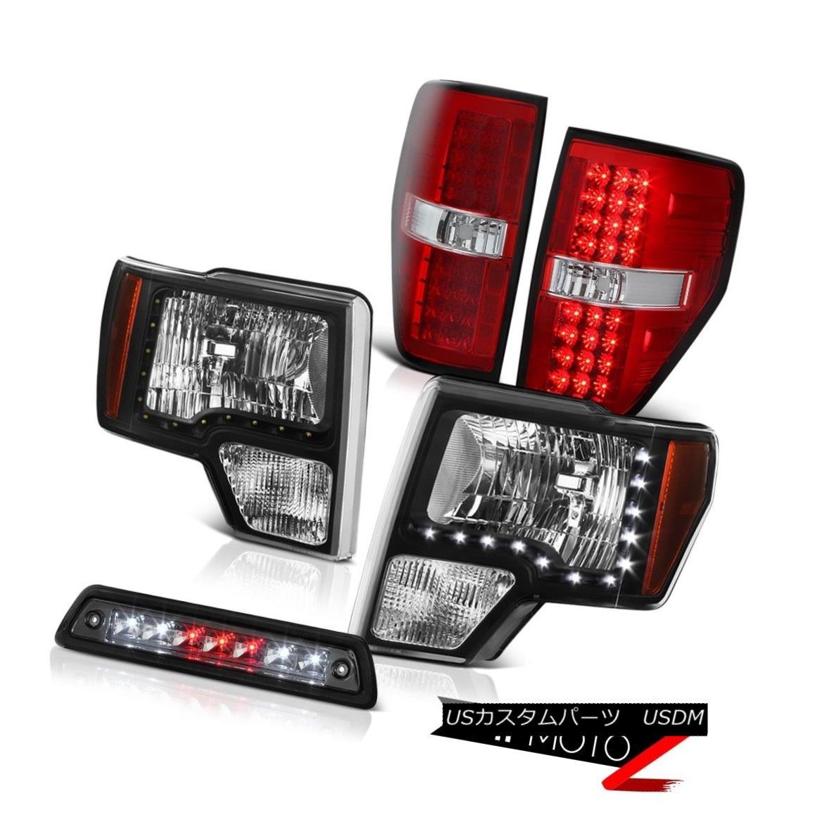 テールライト 2009-2014 F150 3.5L Smoked third brake lamp red tail lamps headlamps led drl SMD 2009 - 2014年F150 3.5Lスモークサードブレーキランプ赤テールランプヘッドライトled drl SMD