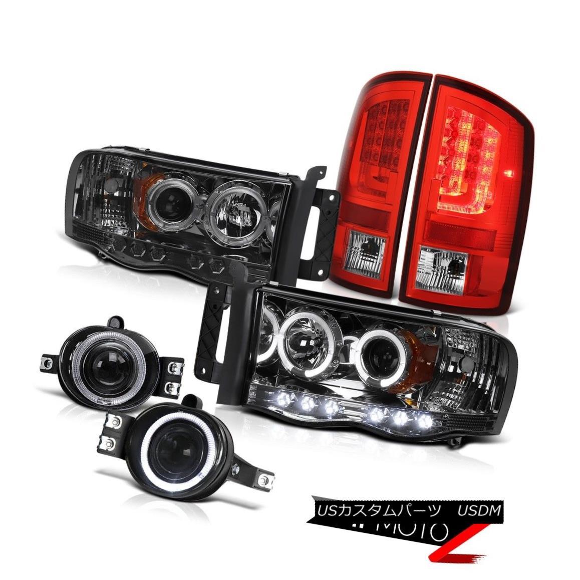 テールライト 02-05 Dodge Ram 2500 3500 WS Bloody Red Tail Lights Headlights Fog LED Halo Rim 02-05 Dodge Ram 2500 3500 WSブラッディレッドテールライトヘッドライトフォグLEDハローリム
