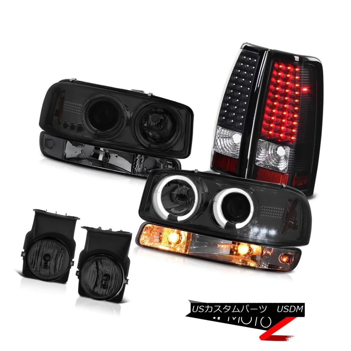テールライト 03 04 05 06 Sierra GMT800 Foglights inky black tail lights turn signal headlamps 03 04 05 06シエラGMT800 Foglights黒いテールランプのターンシグナルヘッドランプ
