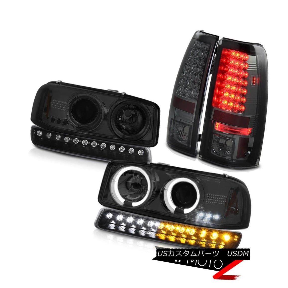 テールライト 99-06 Sierra 6.0L Dark smoke rear brake lamps matte black turn signal headlamps 99-06 Sierra 6.0Lダークスモークリアブレーキランプマットブラックターンシグナルヘッドランプ