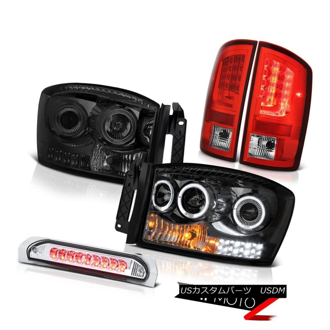 テールライト 07-08 Dodge Ram 1500 5.9L Rosso Red Rear Brake Lamps Headlights High STop Light 07-08ダッジ・ラム1500 5.9Lロッソ・レッド・リア・ブレーキ・ランプヘッドライトハイ・ストップ・ライト