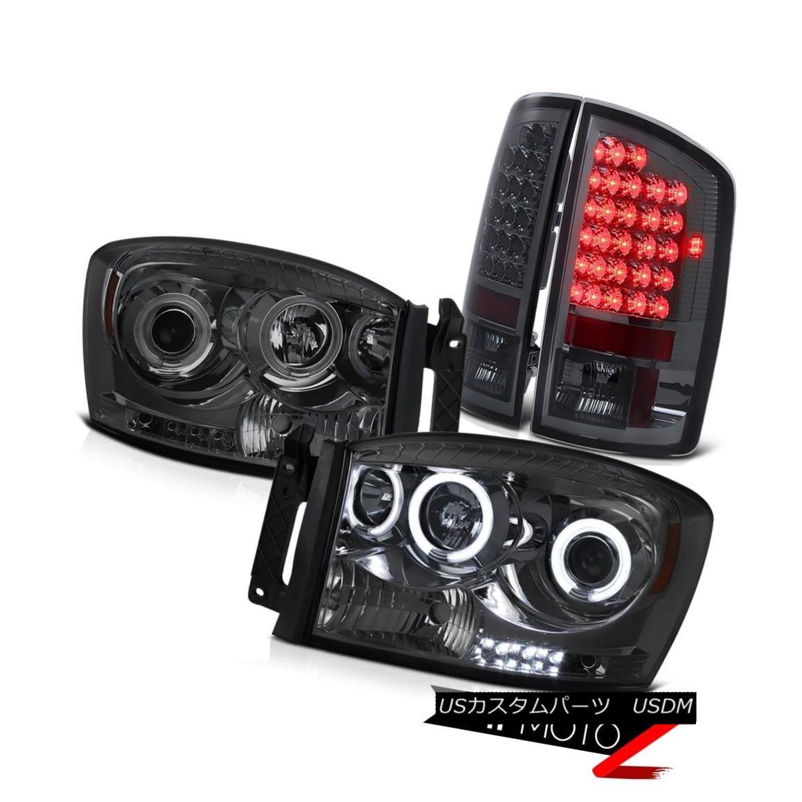 テールライト Smoke HaLo Projector CCFl Headlight+RED/SMOKE LED Tail Light 2006 Dodge RAM 1500 Smoke HaLoプロジェクターCCFlヘッドライト+ RED / SMOKE LEDテールライト2006 Dodge RAM 1500