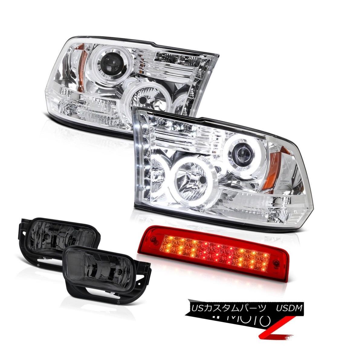 テールライト 10-18 Ram 2500 3500 SLT Red Third Brake Light Smokey Foglights Chrome Headlamps 10-18 Ram 2500 3500 SLTレッド第3ブレーキライトスモーキーフォギーライトクロームヘッドランプ