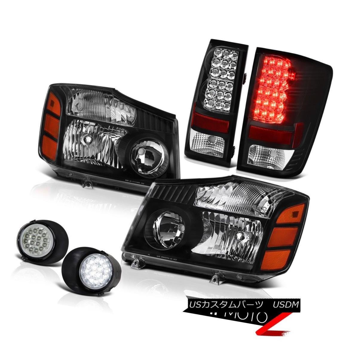 テールライト For 2004-2015 Titan L+R Black Headlamp SMD Brake Tail Light Daytime FogLamp 2004年?2015年タイタンL + RブラックヘッドランプSMDブレーキテールライトデイタイムフォグランプ