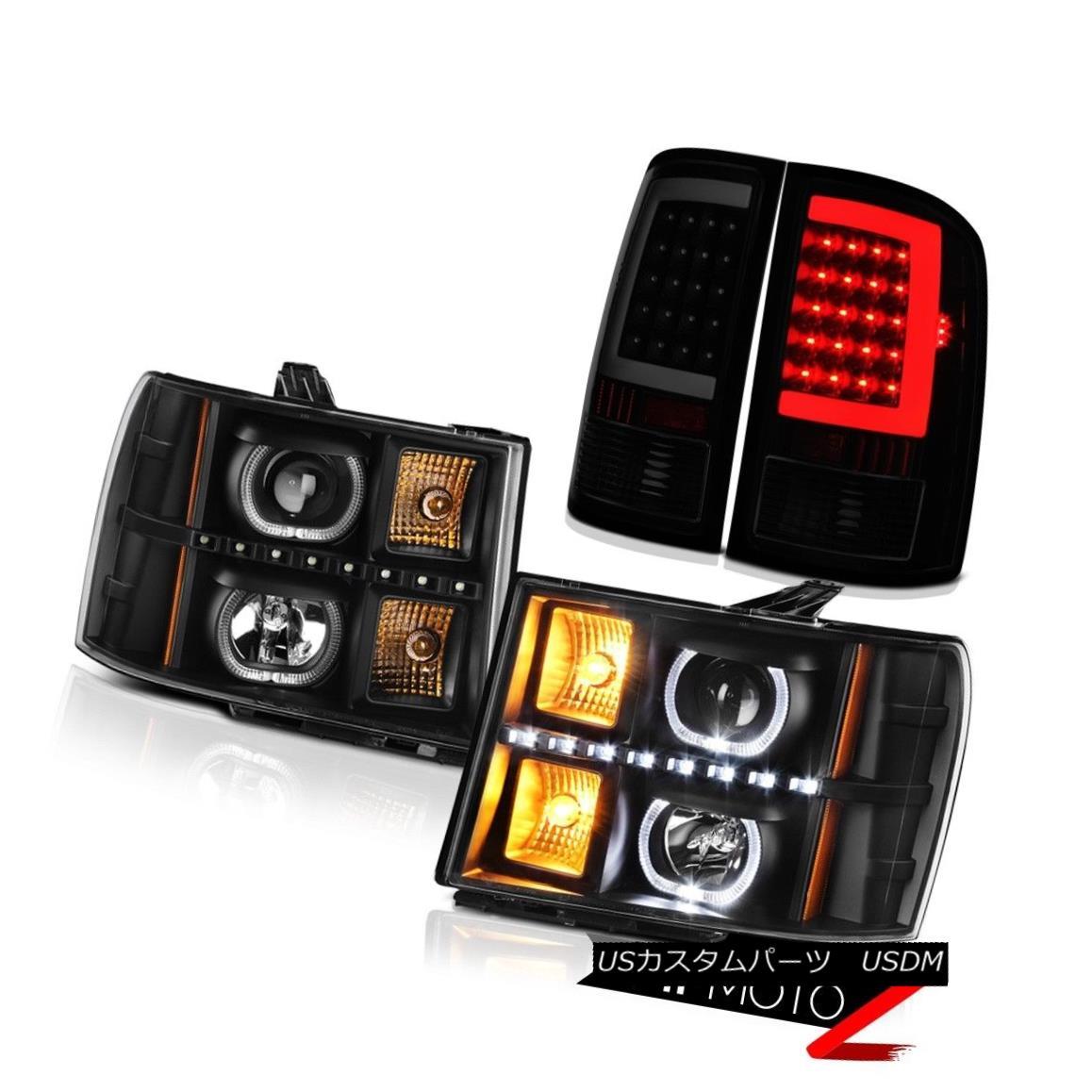 テールライト 2007-2013 Sierrra 1500 XFE Taillights Black Headlights LED Angel Eyes Dual Halo 2007年?2013年シエラ1500 XFEテールライトブラックヘッドライトLEDエンジェルアイデュアルヘイロー