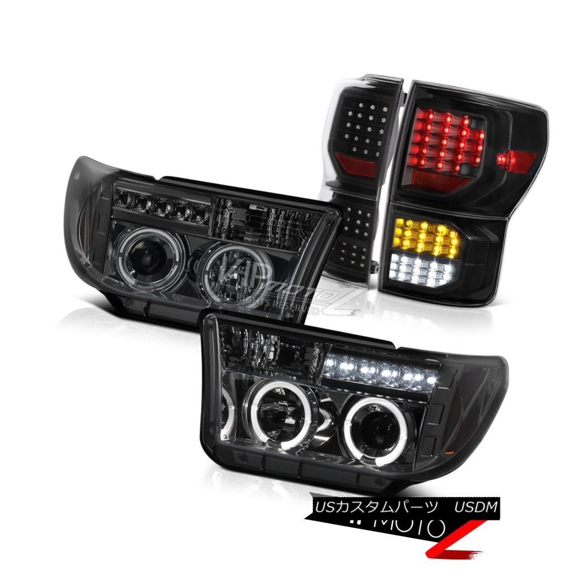 テールライト 2007-2013 Toyota Tundra SR5 Black Tail Lamps Projector Headlights SMD LED Signal 2007-2013トヨタトンドラSR5ブラックテールランププロジェクターヘッドライトSMD LED信号