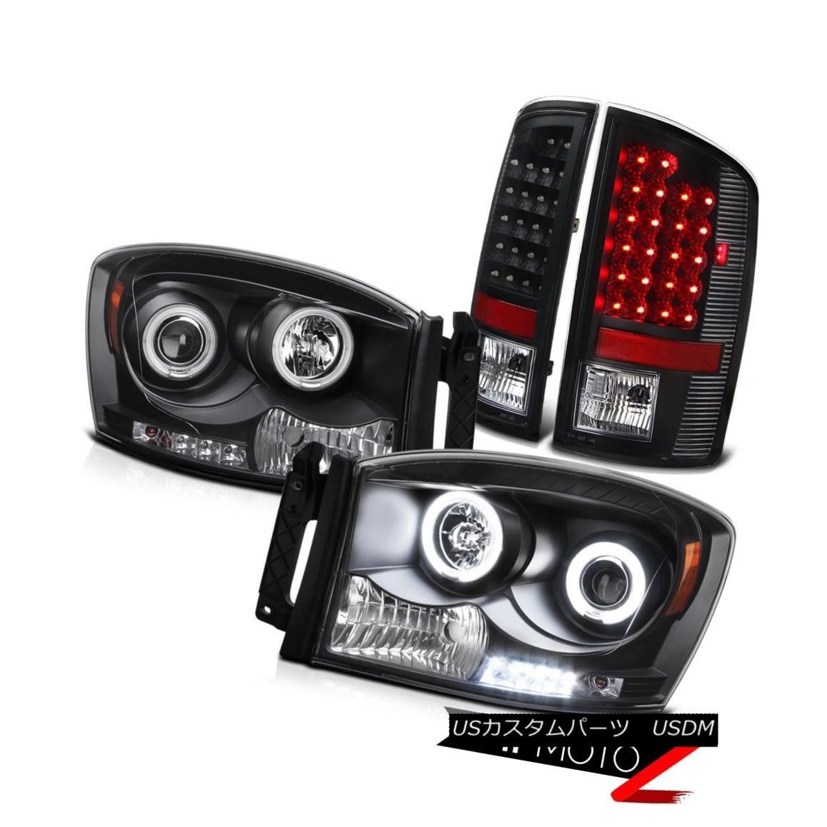 テールライト 2006 Dodge RAM Black HaLO Projector Headlight+Smoke LED Tail Light L+R Assembly 2006ダッジRAMブラックHaLOプロジェクターヘッドライト+スモーク e LEDテールライトL + Rアセンブリ