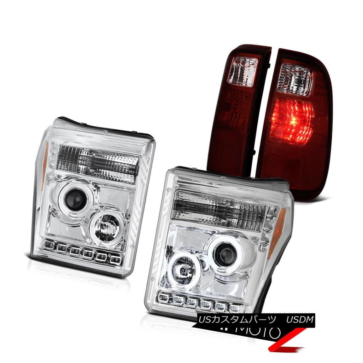テールライト 2011-2016 Ford F250 Red Smoke Taillamps Euro Clear Headlamps CCFL Ring Assembly 2011-2016 Ford F250レッド・スモーク・タイルランプユーロクリアヘッドランプCCFLリング・アセンブリ