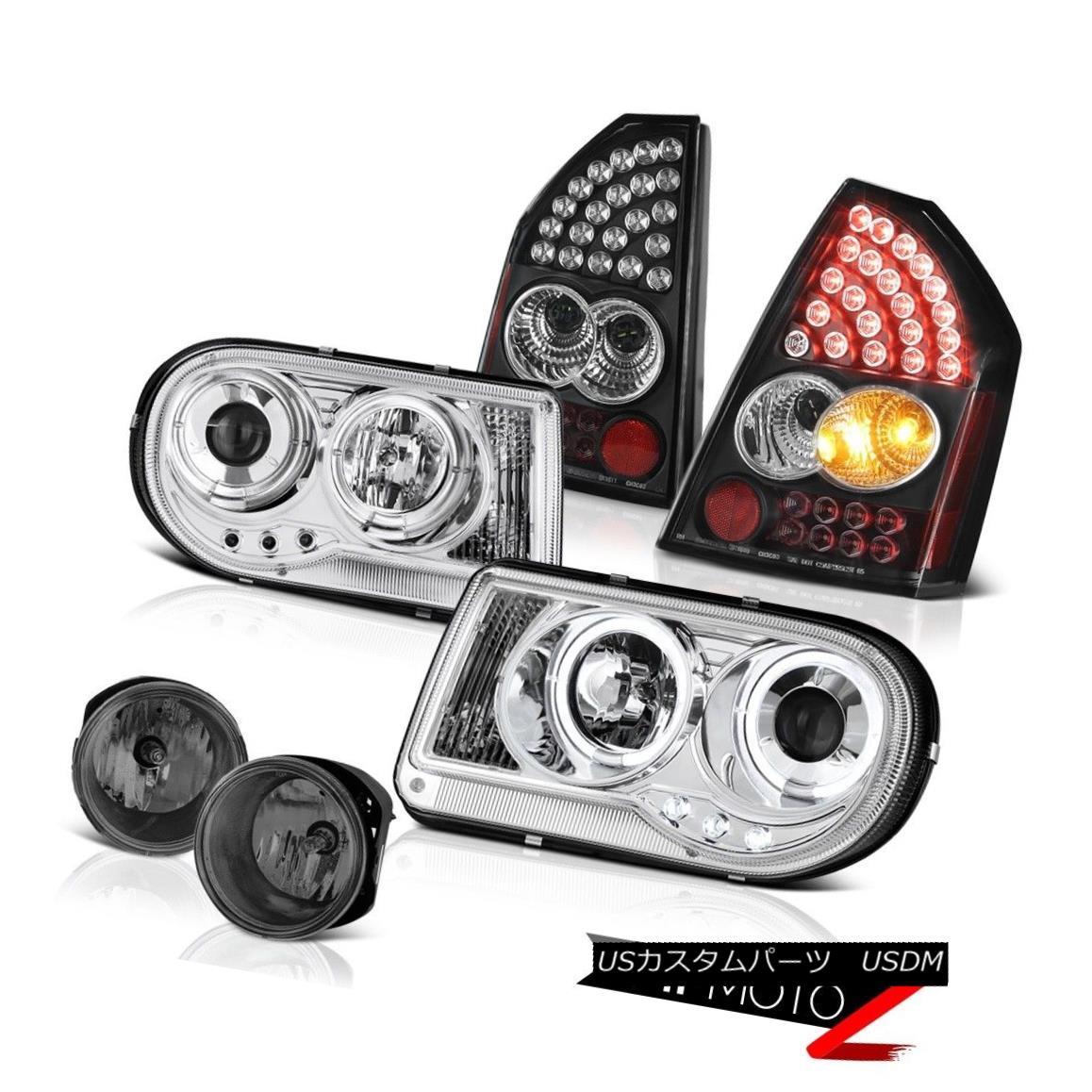テールライト Euro Halo LED Headlights Brake Tail Lights Tinted Fog 2005-2007 Chrysler 300C ユーロHalo LEDヘッドライトブレーキテールライトティンドドフォグ2005-2007クライスラー300C