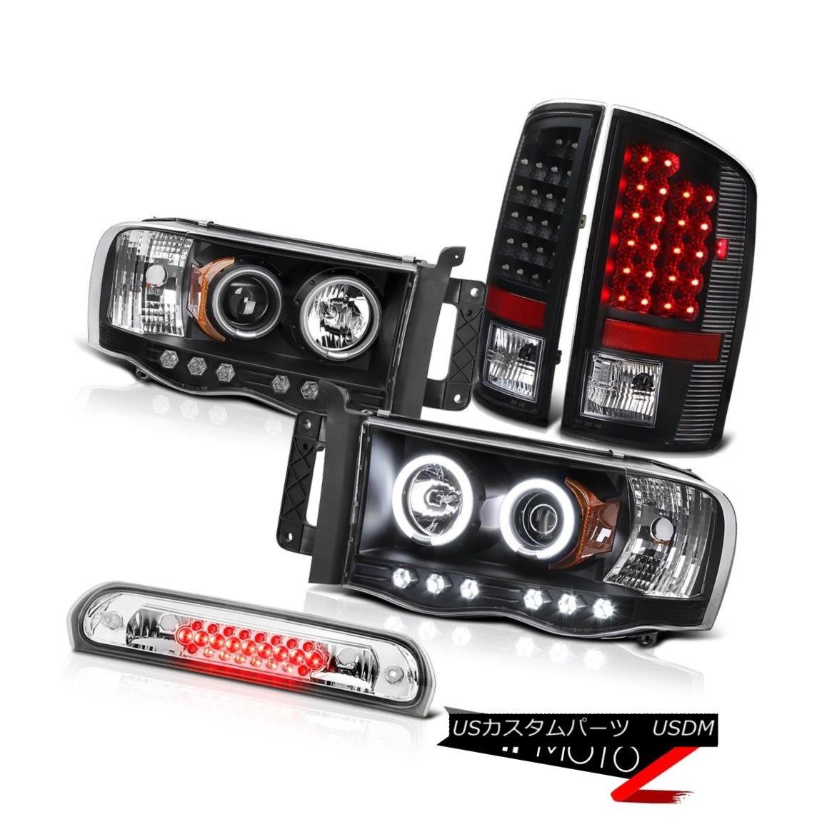 テールライト Black CCFL Ring Headlights Tail Light Assembly LED Roof Brake Cargo 02-05 Ram V6 ブラックCCFLリングヘッドライトテールライトアセンブリLED屋根用ブレーキカーゴ02-05 Ram V6