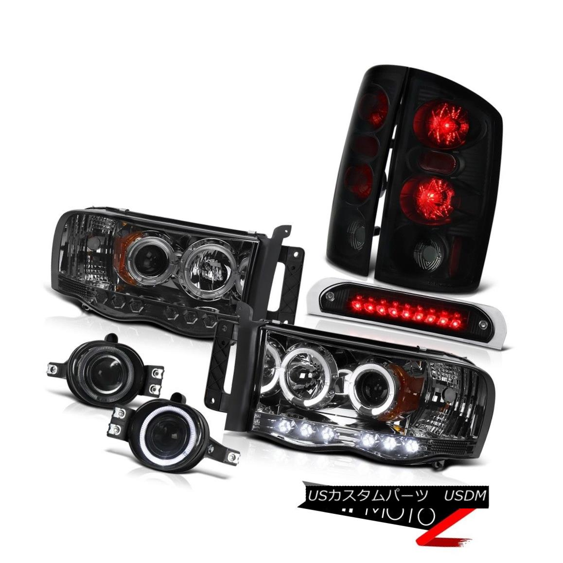 テールライト Smoke Headlights Sinister Black Tail Lights Fog Third Brake LED 02-05 Ram 1500 スモークヘッドライト不快な黒いテールライトフォグ第3ブレーキLED 02-05 Ram 1500