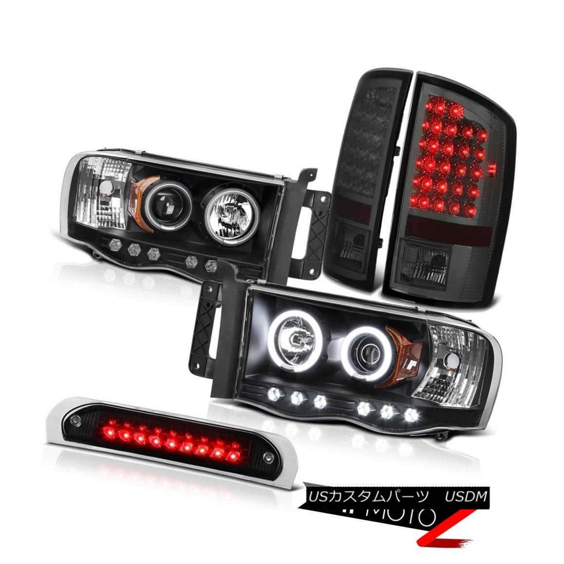 テールライト Black CCFL Rim Headlights Signal Tail Lights High Stop LED 02-05 Ram TurboDiesel ブラックCCFLリムヘッドライト信号テールライトハイストップLED 02-05 Ram TurboDiesel