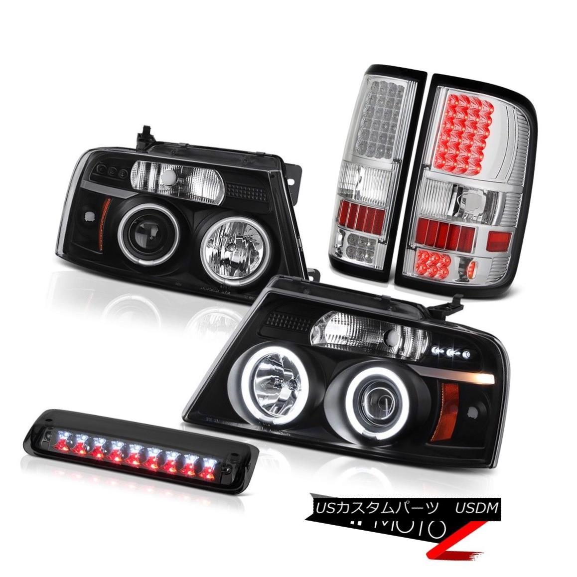 テールライト 04-08 Ford F150 XL Smokey High Stop Lamp Taillamps Inky Black Headlamps LED SMD 04-08 Ford F150 XLスモーキーハイストップランプタイルランプインキブラックヘッドランプLED SMD