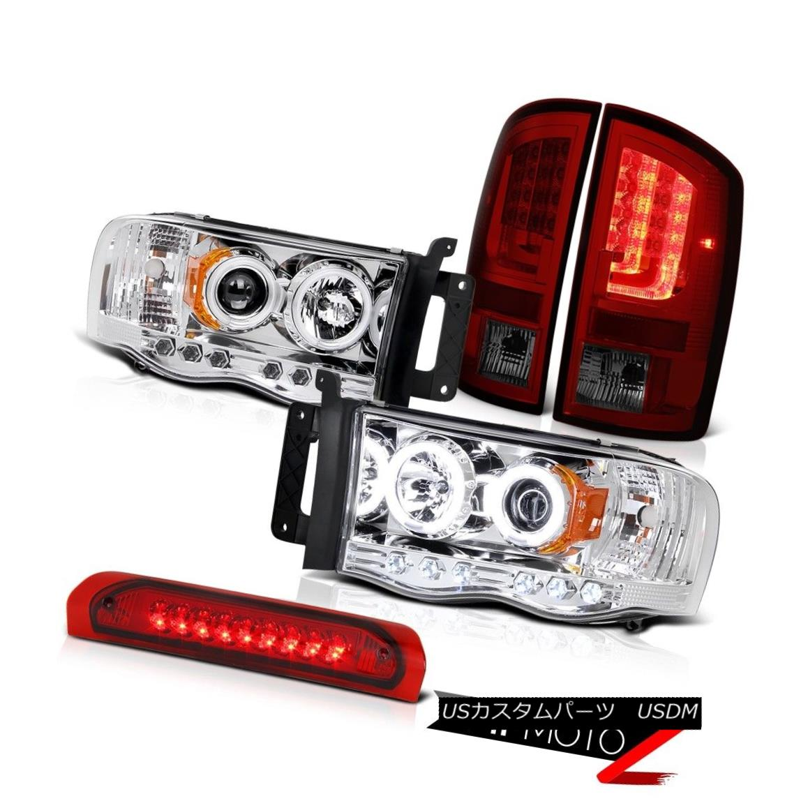 テールライト 2003-2005 Dodge Ram 3500 SLT Smoked Red Tail Lights Headlamps Roof Brake Light 2003-2005 Dodge Ram 3500 SLTスモークレッドテールライトヘッドランプルーフブレーキライト