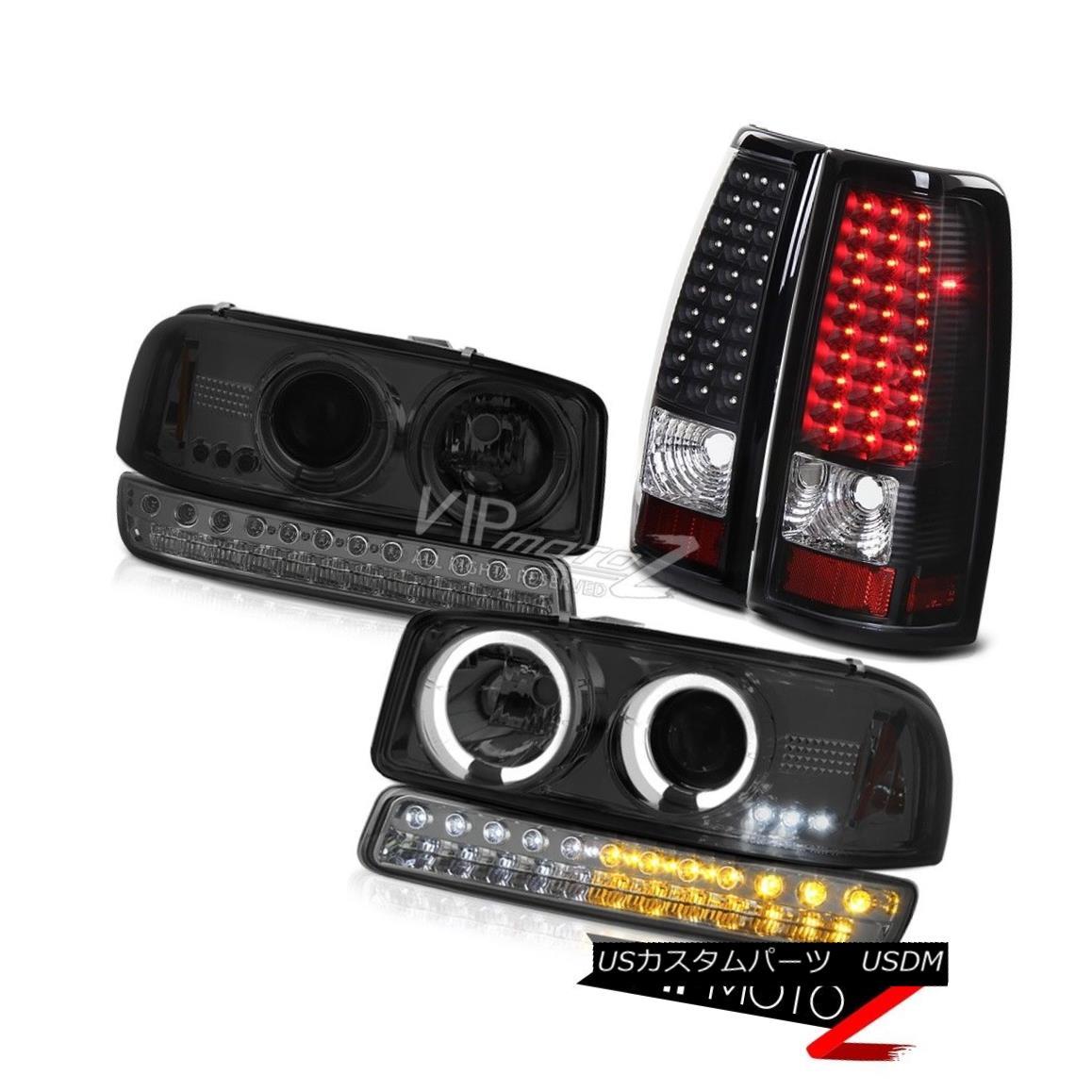 テールライト 99-06 Sierra SLE Infinity Black LED Taillights Signal Lamp Headlamps Angel Eyes 99-06 Sierra SLE InfinityブラックLEDテールライトシグナルランプヘッドランプエンジェルアイズ