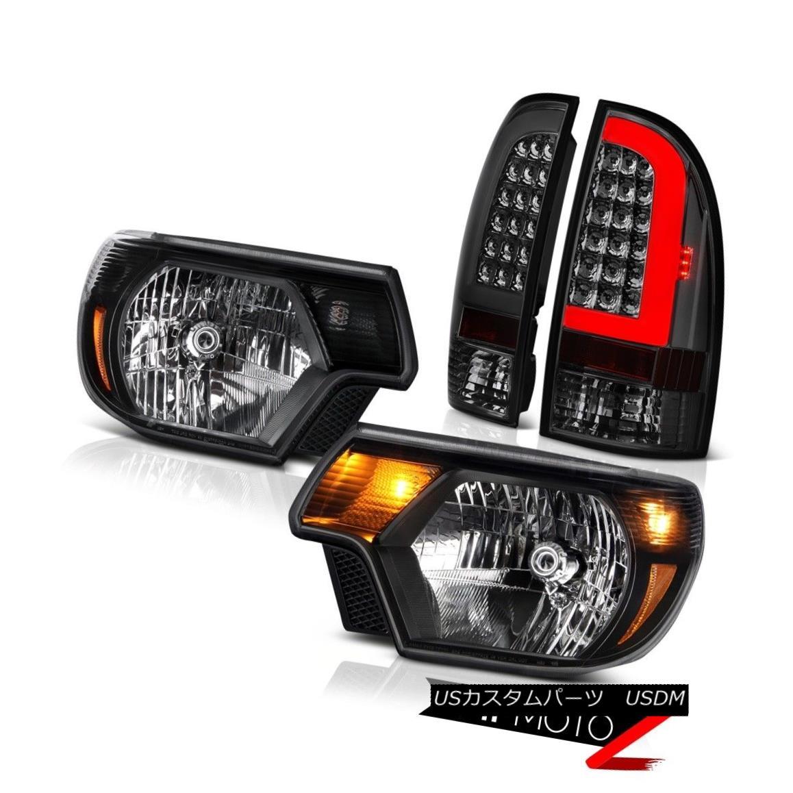 テールライト 12 13-15 Toyota Tacoma Rear Inky Black Factory Style Head Lights Replacement Set 12 13-15トヨタタコマリアインキーブラックファクトリースタイルヘッドライト交換セット