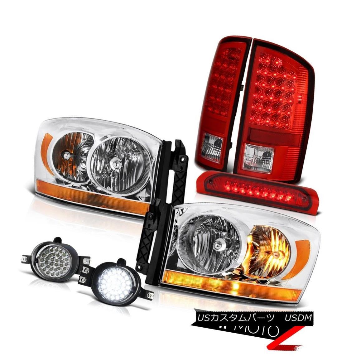 テールライト 07-08 Dodge Ram 1500 St Headlights Foglights Red Third Brake Lamp Tail Lights 07-08ダッジラム1500セントヘッドライトフォグライトレッド第3ブレーキランプテールライト
