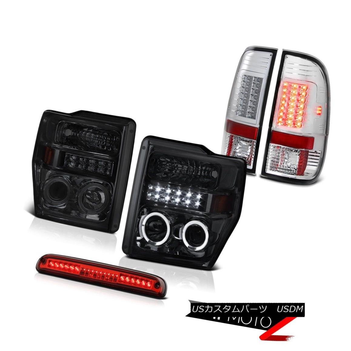 テールライト Smoke DRL Headlight Chrome LED Taillamps Roof Brake Red 2008 2009 2010 F350 5.4L スモークDRLヘッドライトクロームLEDタイルランプルーフブレーキレッド2008 2009 2010 F350 5.4L