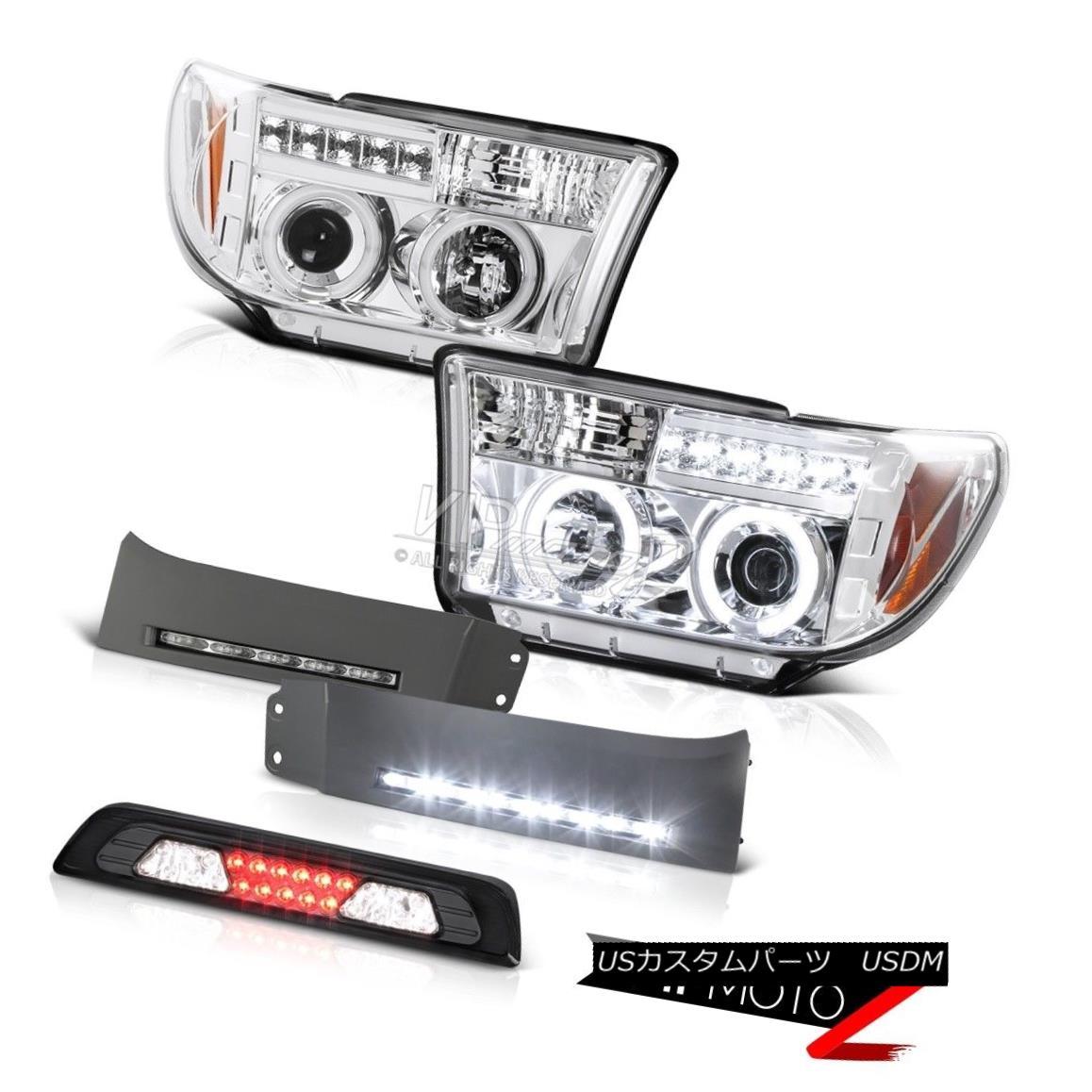 テールライト 07-13 Toyota Tundra SR5 Bumper DRL Dark Smoke High Stop Lamp Headlamps LED Cool 07-13トヨタトンドラSR5バンパーDRLダークスモークハイストップランプヘッドランプLEDクール