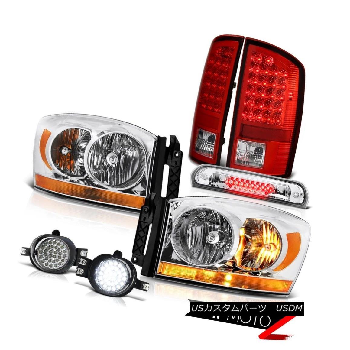 テールライト 07-08 Dodge Ram 1500 3.7L Chrome Headlamps Foglights 3RD Brake Lamp Rear Lamps 07-08ダッジラム1500 3.7Lクロームヘッドランプフォグライト3RDブレーキランプリアランプ