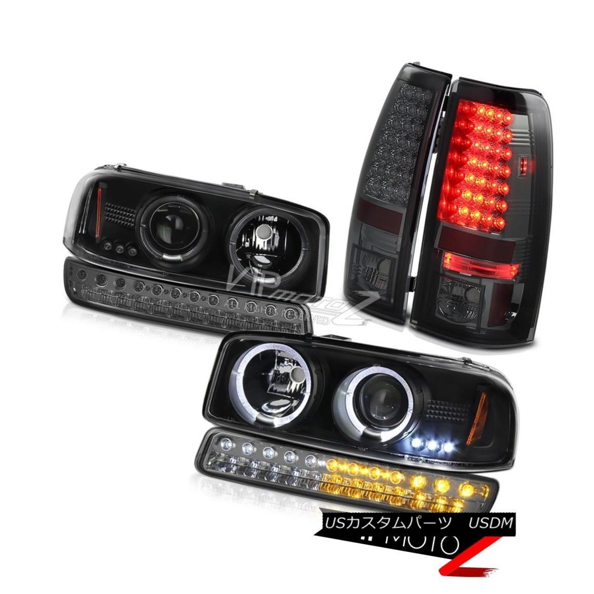 テールライト 99-06 Sierra SL Dark Smoke rear LED Brake Lights Bumper Light Black Headlamps 99-06 Sierra SLダークスモークリアLEDブレーキライトバンパーライトブラックヘッドランプ