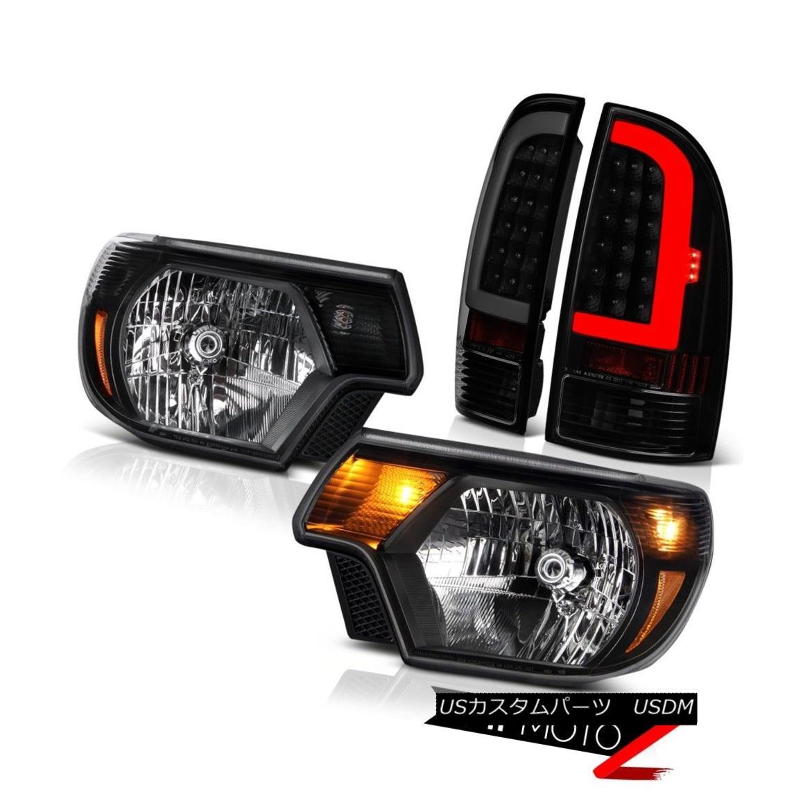 テールライト 12-14 15 Toyota Tacoma Darkest Smoke Fiber Optic Rear Inky Black Head Lights Set 12-14 15トヨタタコマダークスモークスモークファイバーオプティックリアインキブラックヘッドライトセット