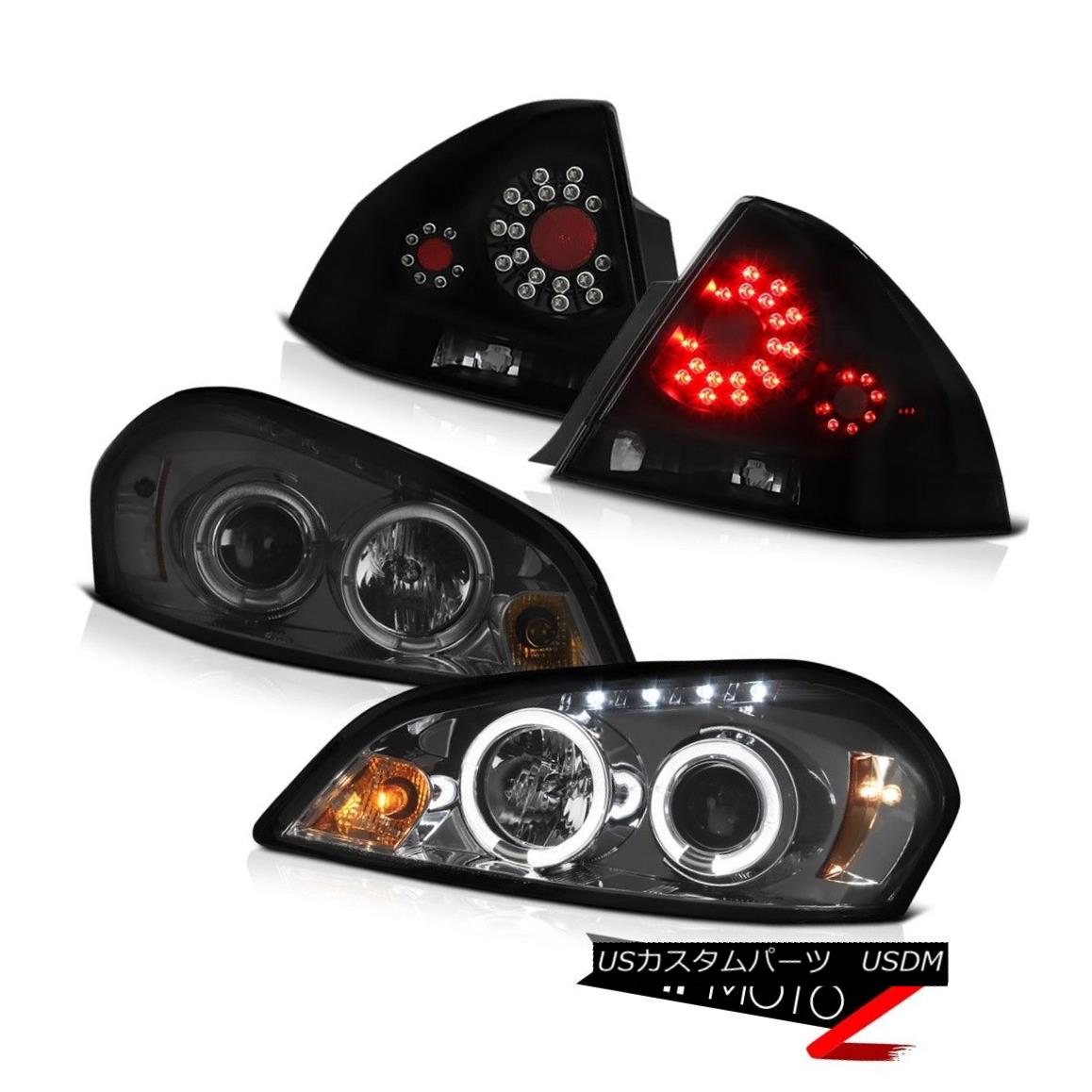 テールライト 06-13 Chevy Impala LT Rear Brake Lights Smoked Projector Headlamps SMD Halo Rim 06-13シボレーインパラLTリアブレーキライトスモークプロジェクターヘッドランプSMD Halo Rim