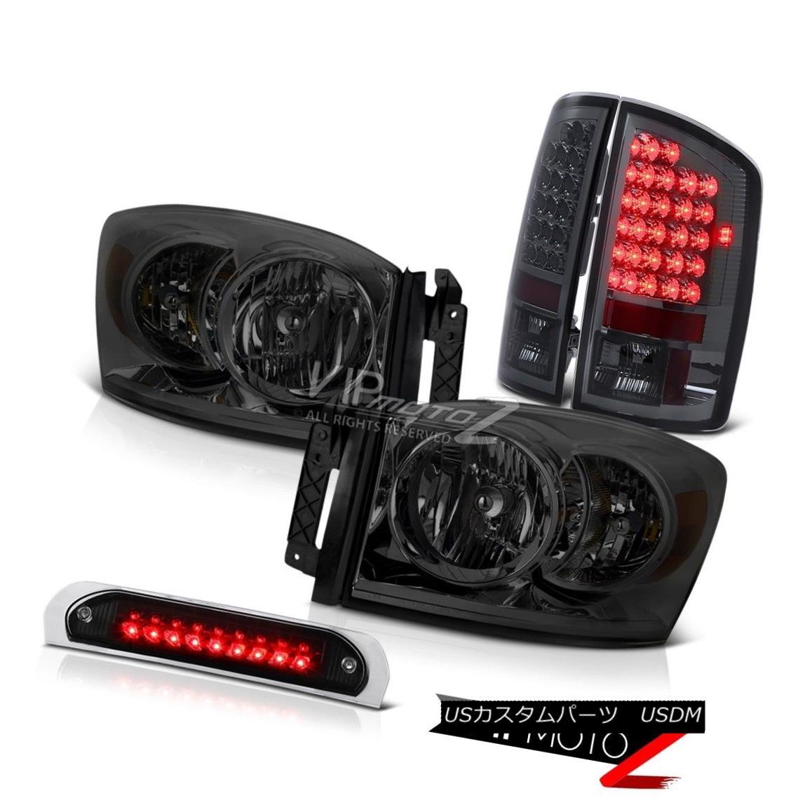 テールライト Diamond Cut Headlights Smoke Brake Tail Lights Black 3rd LED 07 08 Dodge Ram V8 ダイヤモンドカットヘッドライトスモークブレーキテールライトブラック3rd LED 07 08 Dodge Ram V8