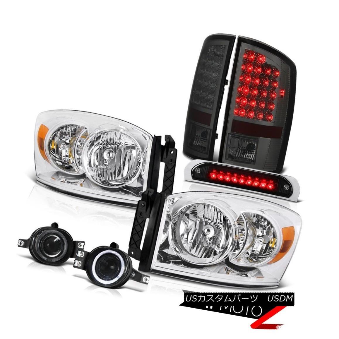 テールライト 2007-2008 Ram WS Chrome Headlight Smoke LED Tail Lights Fog Lamp High Stop Black 2007-2008 Ram WSクロームヘッドライトスモークLEDテールライトフォグランプハイストップブラック