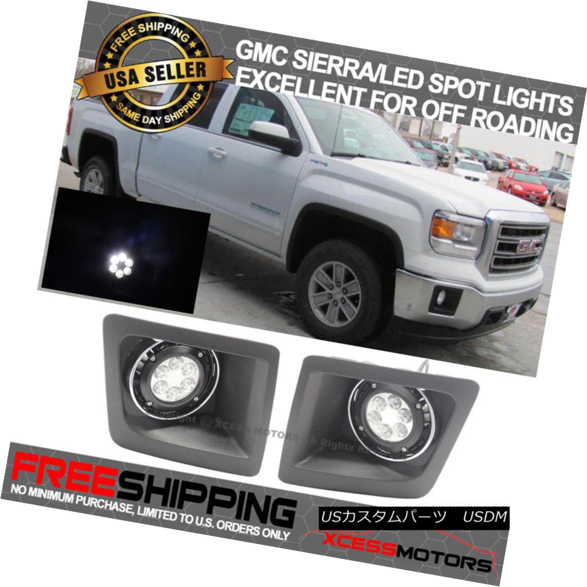エアロパーツ OE For 14-16 GMC Sierra Cree LED Clear Off Roading Spotlights Black Housing 14?16 GMC Sierra Cree用のOEは、道路用のスポットライトブラックハウジングをクリアします。
