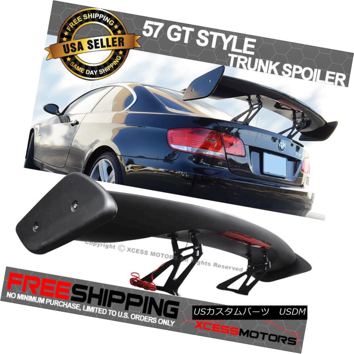 エアロパーツ Fits Nissan 57 Inch Adjustable GT Black ABS Trunk Spoiler Wing LED Brake Light 日産57インチ調整可能GTブラックABSトランク・スポイラー翼LEDブレーキライト