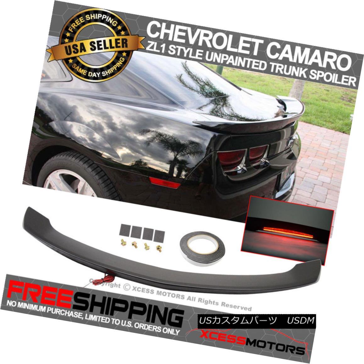 エアロパーツ 10-13 Chevy Camaro ZL1 Style Trunk Spoiler With LED Brake Light Unpainted ABS 10-13シボレーカマロZL1スタイルのトランク・スポイラー、LEDブレーキライト無塗装ABS