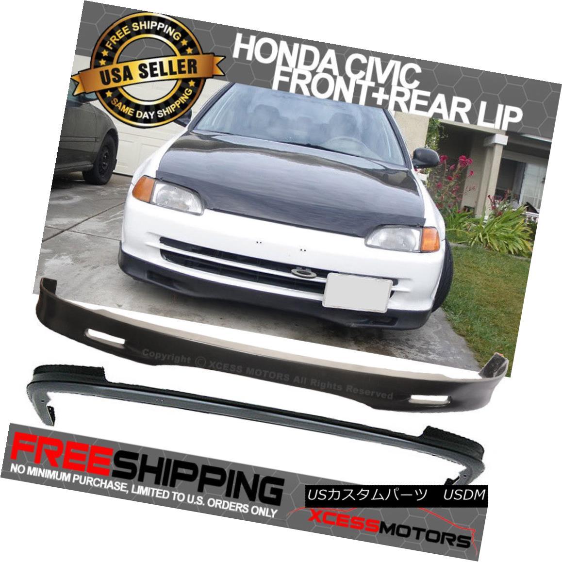 エアロパーツ Fit 01-03 Civic 4 Door SPOON Urethane Front + PP Rear Bumper Lip Spoiler Combo Fit 01-03 Civic 4 Door SPOONウレタンフロント+ PPリアバンパーリップスポイラーコンボ