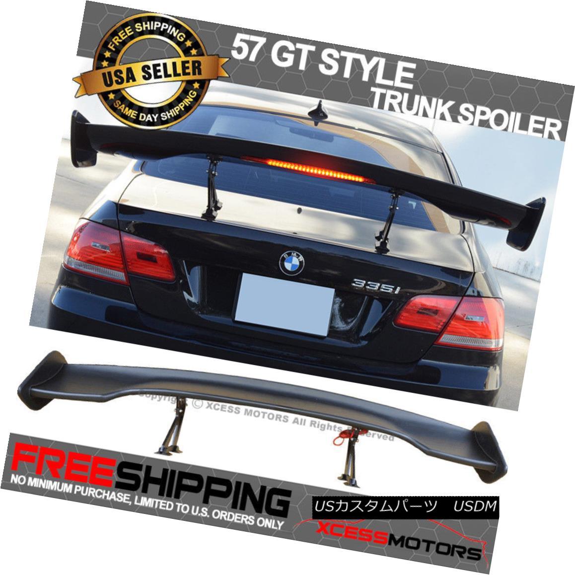 エアロパーツ Fits 57 Inch GT Adjustable Black ABS Trunk Spoiler Wing With LED Brake Light JDM 57インチのGT調整可能なブラックABSブロッキングスポイラーウィングLEDブレーキライトJDMに適合