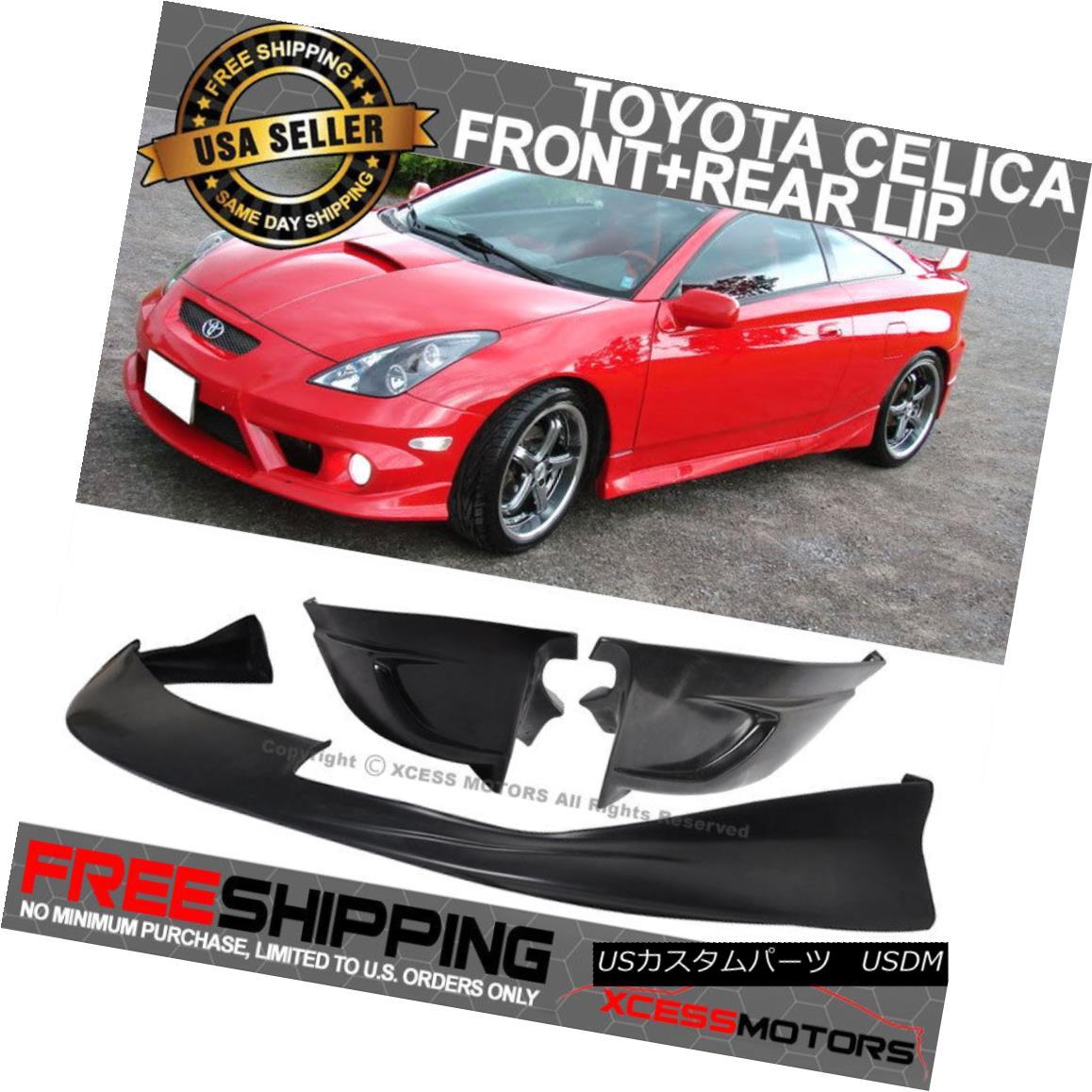 エアロパーツ For 00-02 Toyota Celica JDM Style Front PU Bumper Lip+Pu VIP Style Rear Lip 00-02用トヨタセリカJDMスタイルフロントPUバンパーリップ+ Pu VIPスタイルリアリップ