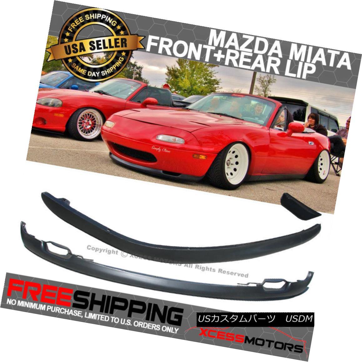 エアロパーツ Fits 90-97 Mazda Miata MX5 Polypropylene Front + Rear Lip Bumper Spoiler PP フィット90-97マツダMiata MX5ポリプロピレンフロント+リアリップバンパースポイラーPP
