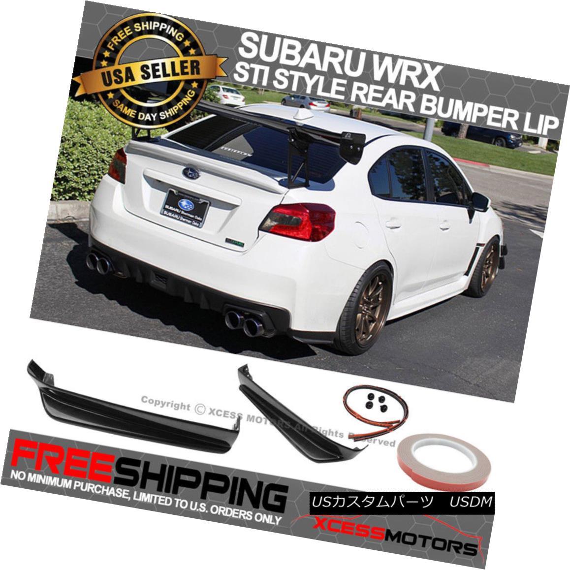 エアロパーツ For 15-18 Subaru Impreza WRX STI Rear Bumper Lip 2PC Black Aprons Spats Splitter 15-18スバルインプレッサWRX STIリアバンパーリップ2PCブラックエプロンスパッツスプリッタ