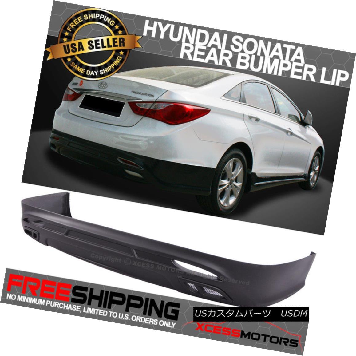 エアロパーツ Fit 11-14 Hyundai Sonata Lower Rear Bumper Diffuser Spoiler Lip PP Black フィット11-14現代ソナタロワーリアバンパーディフューザースポイラーリップPPブラック