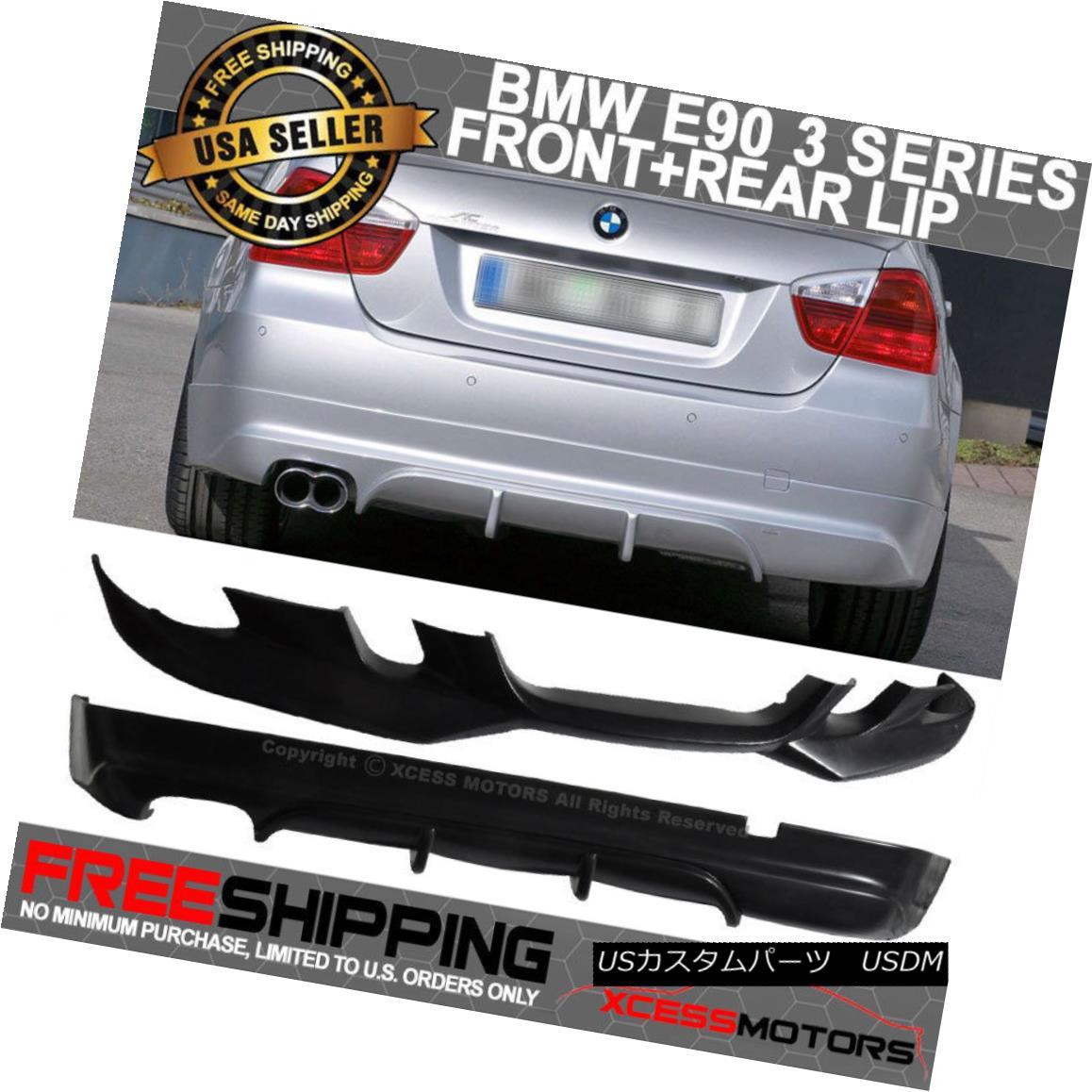 エアロパーツ Fits 06-08 BMW E90 AC-S Style PU Front + Rear Bumper Lip Spoiler Poly-Urethane フィット06-08 BMW E90 AC-SスタイルPUフロント+リアバンパーリップスポイラーポリウレタン