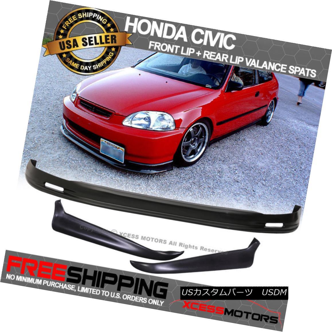 エアロパーツ Fits 96-98 Civic EK 2/4Dr Mugen PP Front Bumper Lip + Valance Spats 2Pc Rear Lip フィット96-98 Civic EK 2 / 4Dr Mugen PPフロントバンパーリップ+バランススパッツ2Pcリアリップ