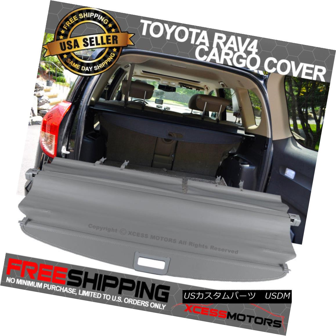 エアロパーツ Fit 06-12 Toyota RAV4 OE Style Retractable Gray Rear Cargo Security Trunk Cover フィット06-12トヨタRAV4 OEスタイルリトラクタブルグレーリアカーゴセキュリティトランクカバー