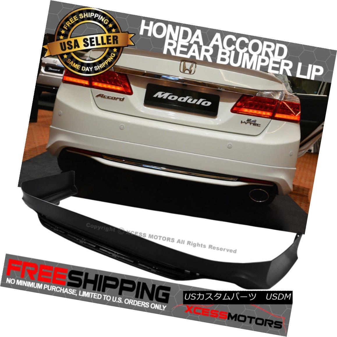 エアロパーツ Fits 13-15 Honda Accord MODULO Style Rear Bumper Lip Unpainted Black PP フィット13~15ホンダアコードMODULOスタイルリアバンパーリップ未塗装ブラックPP