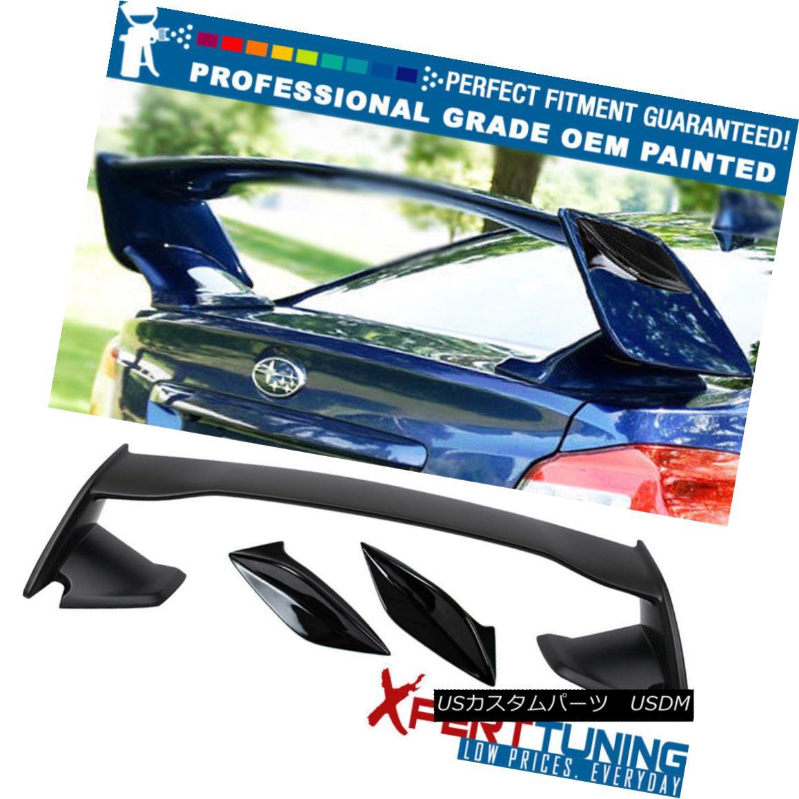 エアロパーツ Fits 15-18 WRX STI OE Trunk Spoiler & Matte Black Side Fin - OEM Painted Color 15-18 WRX STI OEトランク・スポイラー& マットブラックサイドフィン - OEM塗装色