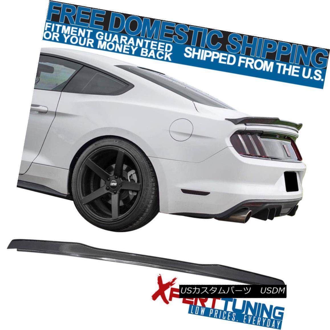 エアロパーツ Fits 15-18 Ford Mustang H Style High Kick V Trunk Spoiler - Carbon Fiber フィット15-18フォードマスタングHスタイルハイキックVトランクスポイラー - 炭素繊維