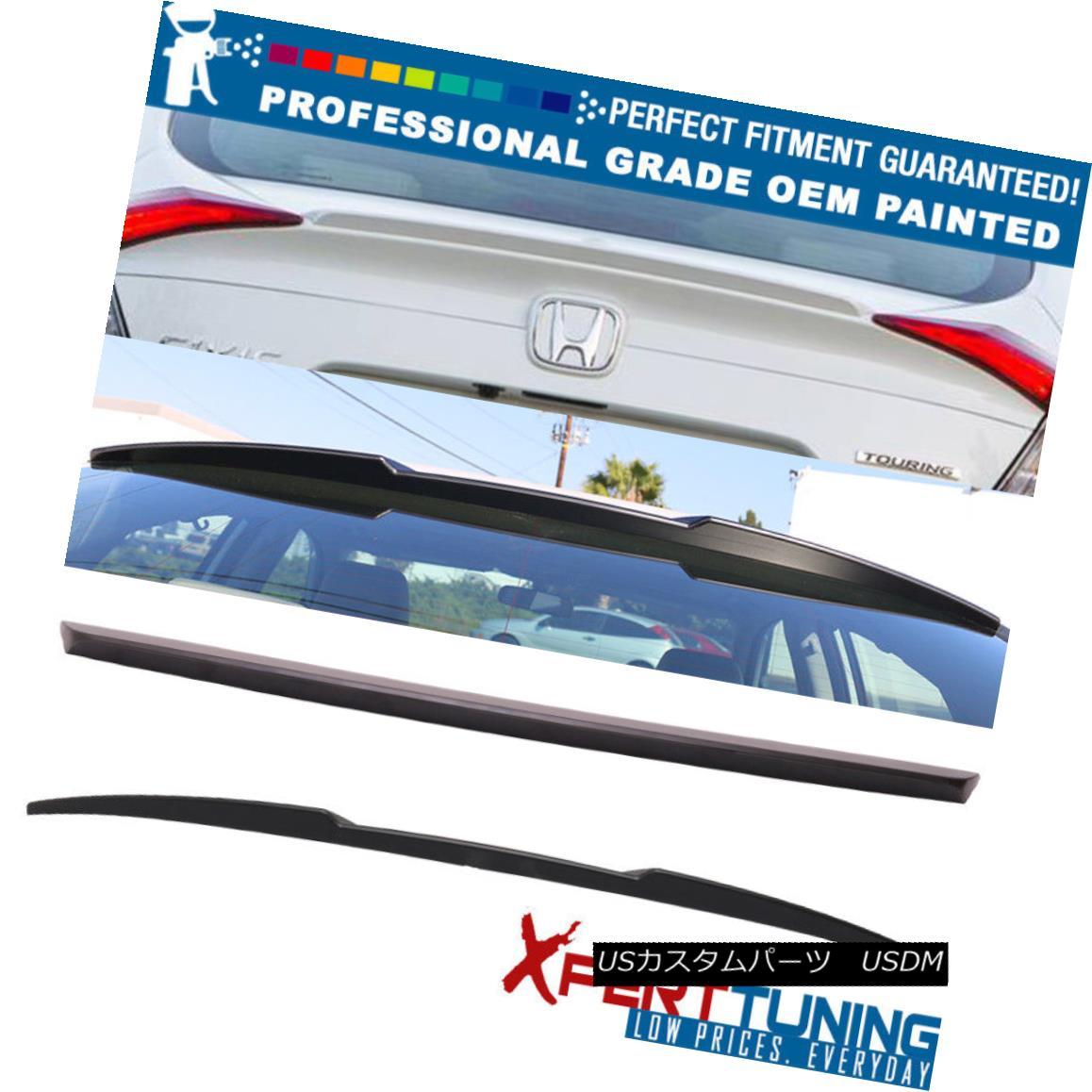 エアロパーツ 16-18 Civic Sedan Painted OE Trunk Spoiler & IKON Roof Wing - OEM Painted Color 16-18シビックセダン塗装OEトランクスポイラー& IKON屋根翼 - OEM塗装色